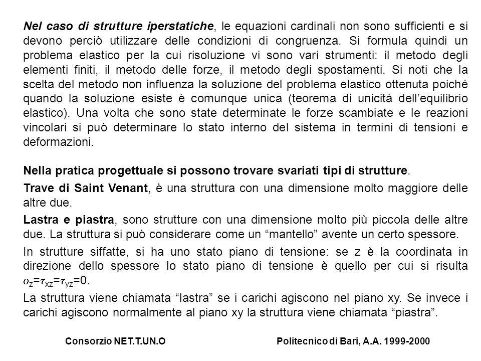 Consorzio NET.T.UN.OPolitecnico di Bari, A.A. 1999-2000 Nel caso di strutture iperstatiche, le equazioni cardinali non sono sufficienti e si devono pe
