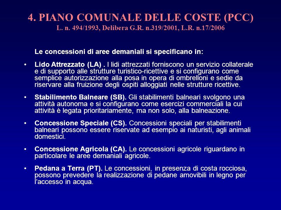 4. PIANO COMUNALE DELLE COSTE (PCC) L. n. 494/1993, Delibera G.R. n.319/2001, L.R. n.17/2006 Le concessioni di aree demaniali si specificano in: Lido