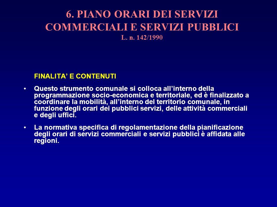 6. PIANO ORARI DEI SERVIZI COMMERCIALI E SERVIZI PUBBLICI L. n. 142/1990 FINALITA E CONTENUTI Questo strumento comunale si colloca allinterno della pr