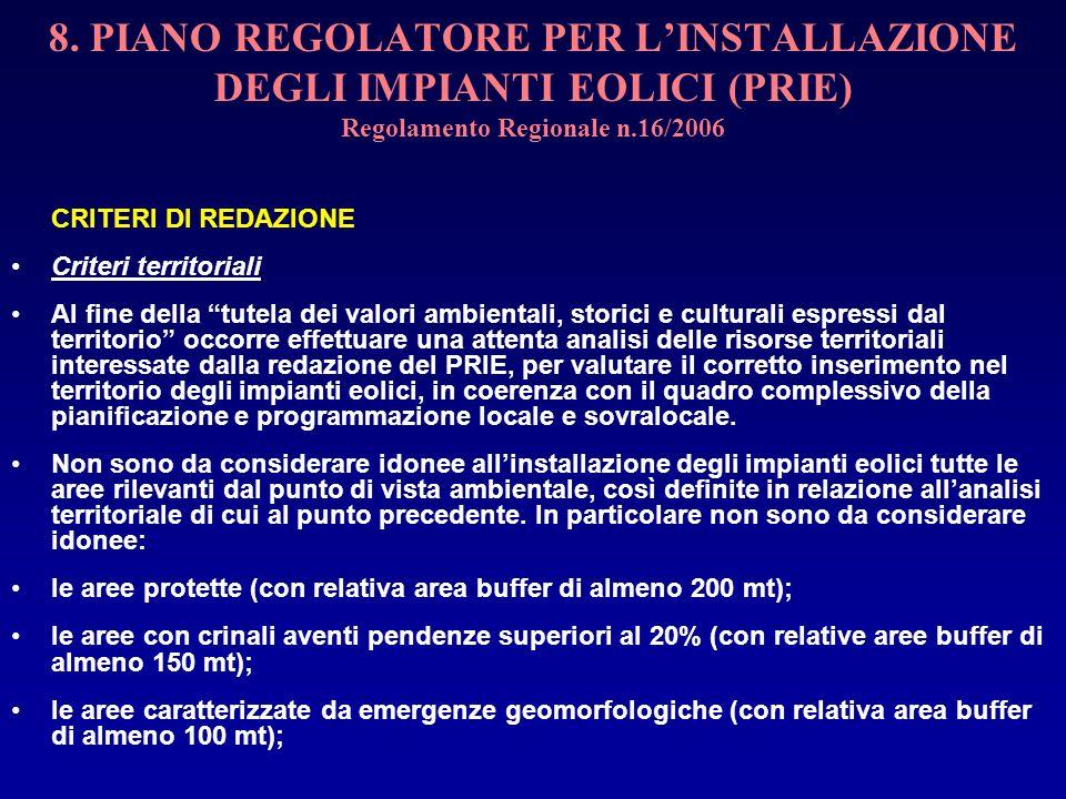 8. PIANO REGOLATORE PER LINSTALLAZIONE DEGLI IMPIANTI EOLICI (PRIE) Regolamento Regionale n.16/2006 CRITERI DI REDAZIONE Criteri territoriali Al fine