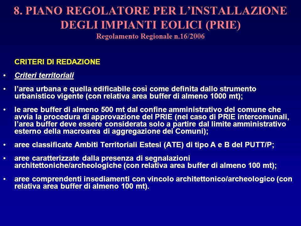 8. PIANO REGOLATORE PER LINSTALLAZIONE DEGLI IMPIANTI EOLICI (PRIE) Regolamento Regionale n.16/2006 CRITERI DI REDAZIONE Criteri territoriali larea ur