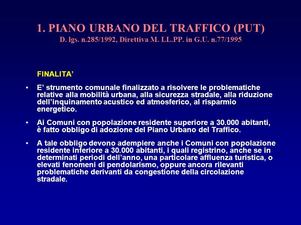 1. PIANO URBANO DEL TRAFFICO (PUT) D. lgs. n.285/1992, Direttiva M. LL.PP. in G.U. n.77/1995 FINALITA E strumento comunale finalizzato a risolvere le