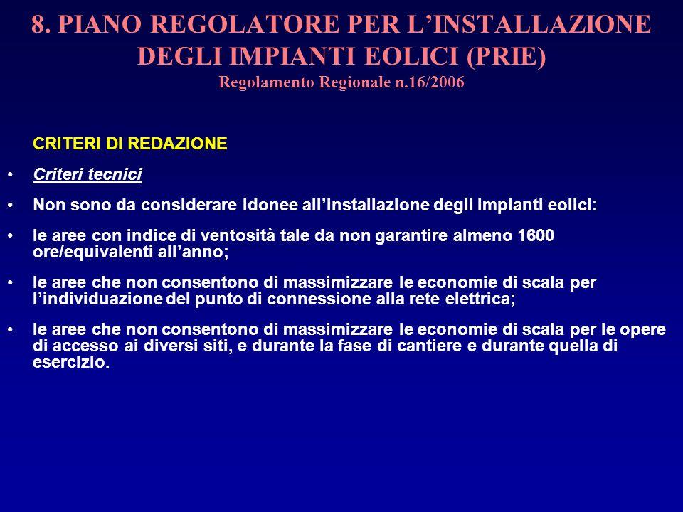 8. PIANO REGOLATORE PER LINSTALLAZIONE DEGLI IMPIANTI EOLICI (PRIE) Regolamento Regionale n.16/2006 CRITERI DI REDAZIONE Criteri tecnici Non sono da c