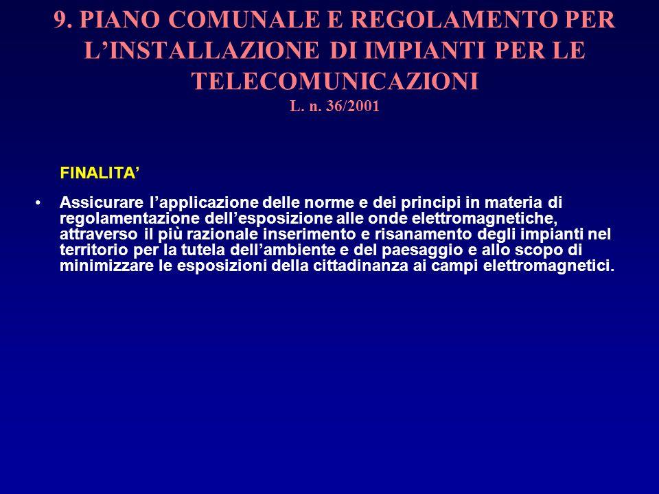 9. PIANO COMUNALE E REGOLAMENTO PER LINSTALLAZIONE DI IMPIANTI PER LE TELECOMUNICAZIONI L. n. 36/2001 FINALITA Assicurare lapplicazione delle norme e