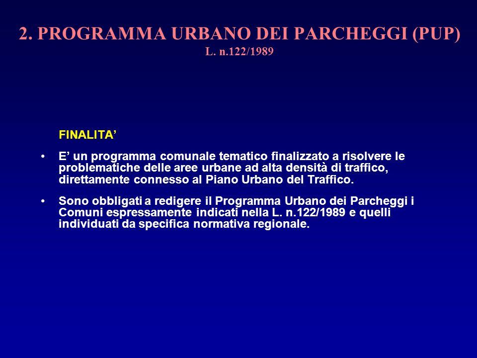 2. PROGRAMMA URBANO DEI PARCHEGGI (PUP) L. n.122/1989 FINALITA E un programma comunale tematico finalizzato a risolvere le problematiche delle aree ur