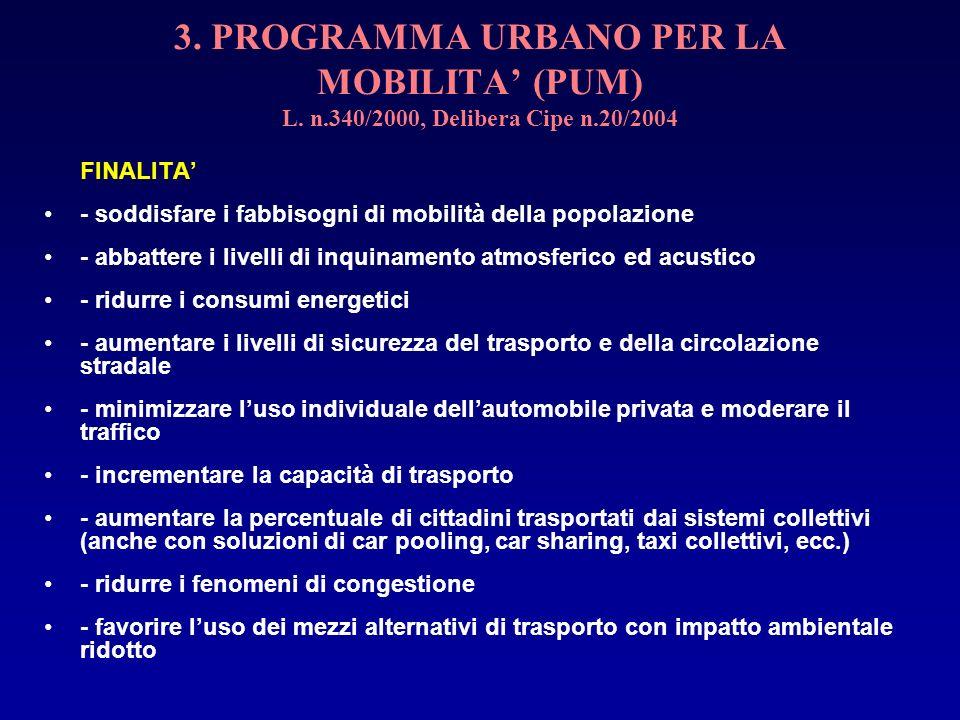 3. PROGRAMMA URBANO PER LA MOBILITA (PUM) L. n.340/2000, Delibera Cipe n.20/2004 FINALITA - soddisfare i fabbisogni di mobilità della popolazione - ab