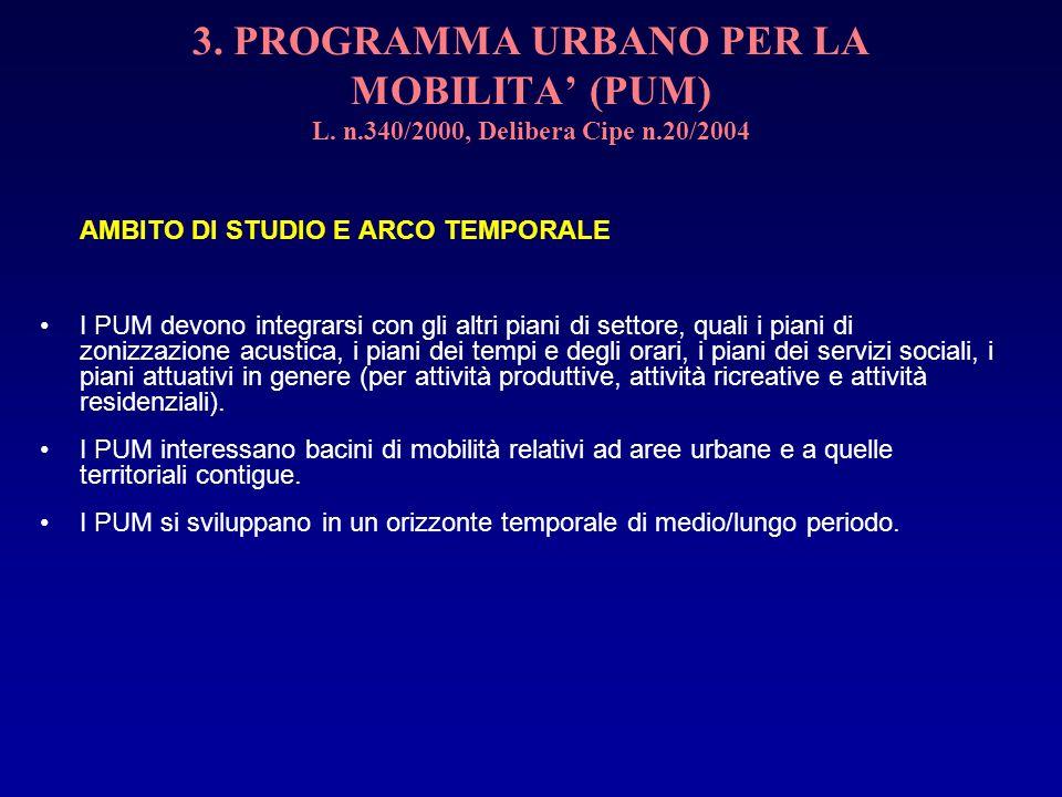 3. PROGRAMMA URBANO PER LA MOBILITA (PUM) L. n.340/2000, Delibera Cipe n.20/2004 AMBITO DI STUDIO E ARCO TEMPORALE I PUM devono integrarsi con gli alt