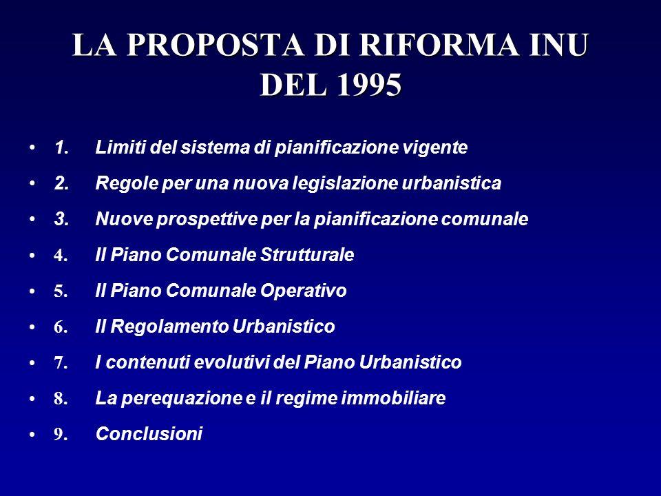 LA PROPOSTA DI RIFORMA INU DEL 1995 1. Limiti del sistema di pianificazione vigente 2.Regole per una nuova legislazione urbanistica 3. Nuove prospetti