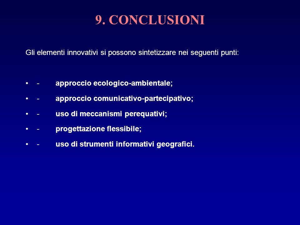 9. CONCLUSIONI Gli elementi innovativi si possono sintetizzare nei seguenti punti: -approccio ecologico-ambientale; -approccio comunicativo-partecipat