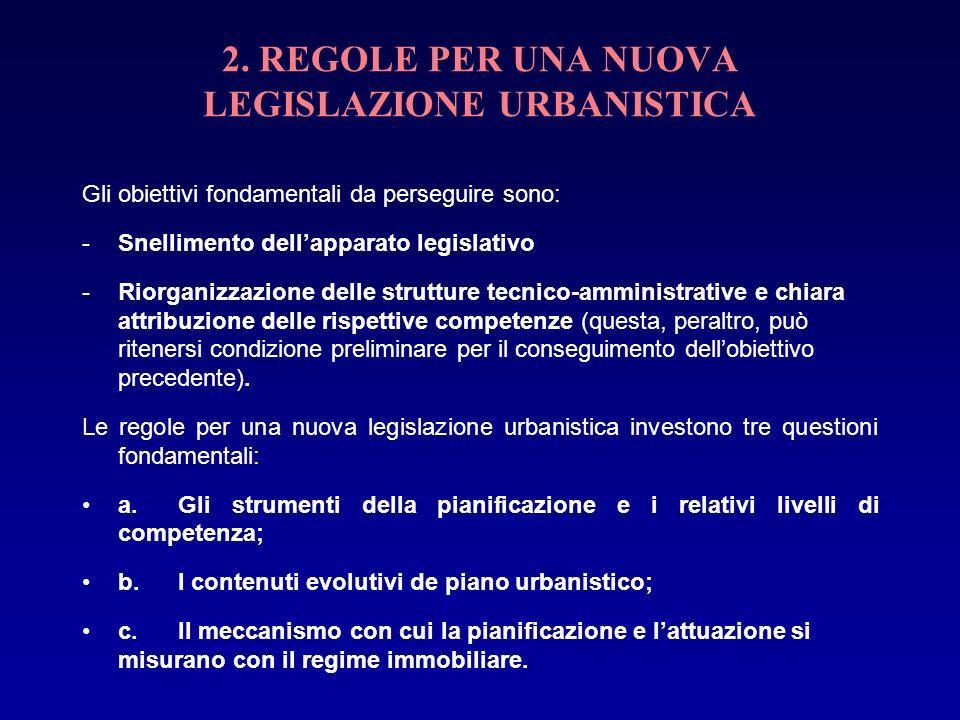 2. REGOLE PER UNA NUOVA LEGISLAZIONE URBANISTICA Gli obiettivi fondamentali da perseguire sono: -Snellimento dellapparato legislativo -Riorganizzazion