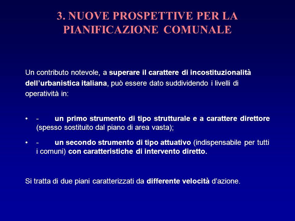 3. NUOVE PROSPETTIVE PER LA PIANIFICAZIONE COMUNALE Un contributo notevole, a superare il carattere di incostituzionalità dellurbanistica italiana, pu