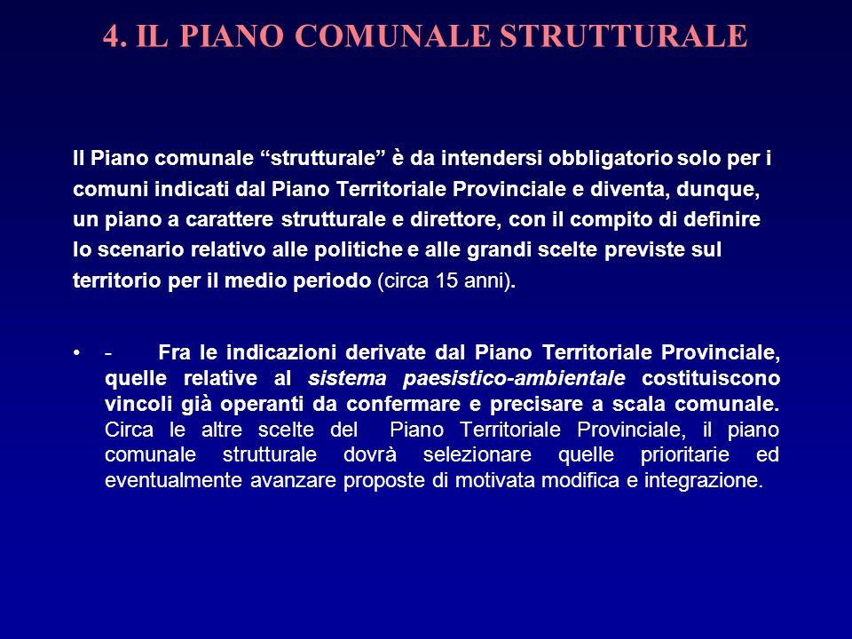 4. IL PIANO COMUNALE STRUTTURALE Il Piano comunale strutturale è da intendersi obbligatorio solo per i comuni indicati dal Piano Territoriale Provinci