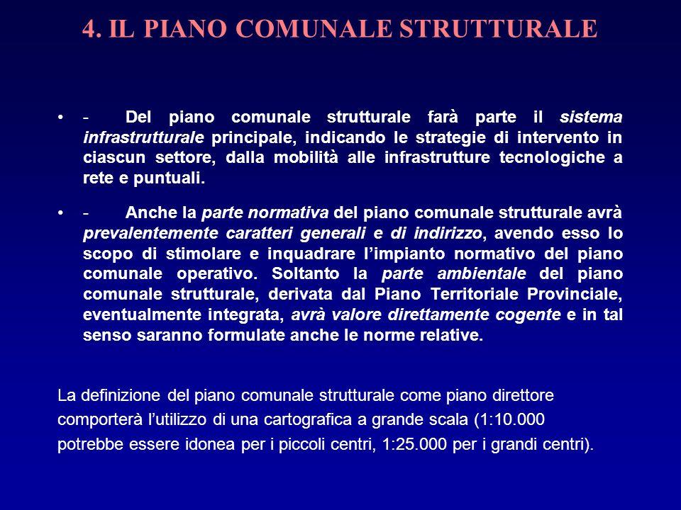 4. IL PIANO COMUNALE STRUTTURALE -Del piano comunale strutturale farà parte il sistema infrastrutturale principale, indicando le strategie di interven