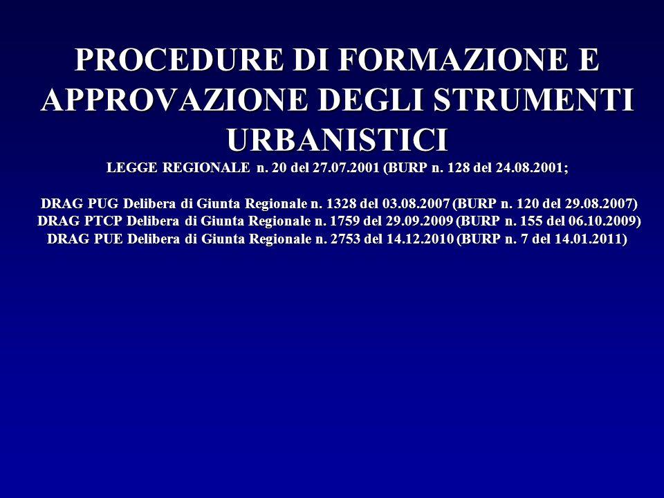 PROCEDURE DI FORMAZIONE E APPROVAZIONE DEGLI STRUMENTI URBANISTICI LEGGE REGIONALE n.