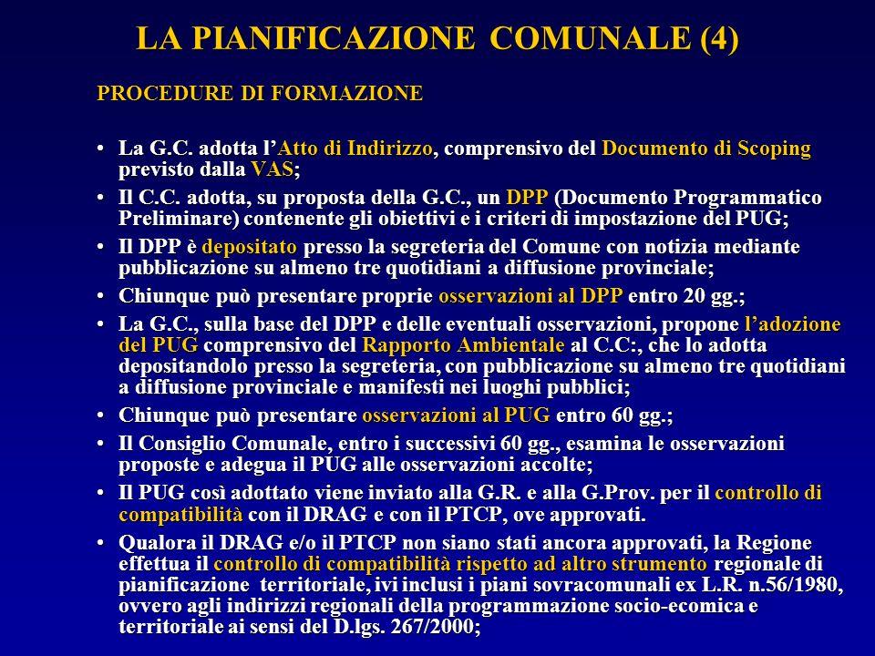 LA PIANIFICAZIONE COMUNALE (5) La G.R.e la G.P.