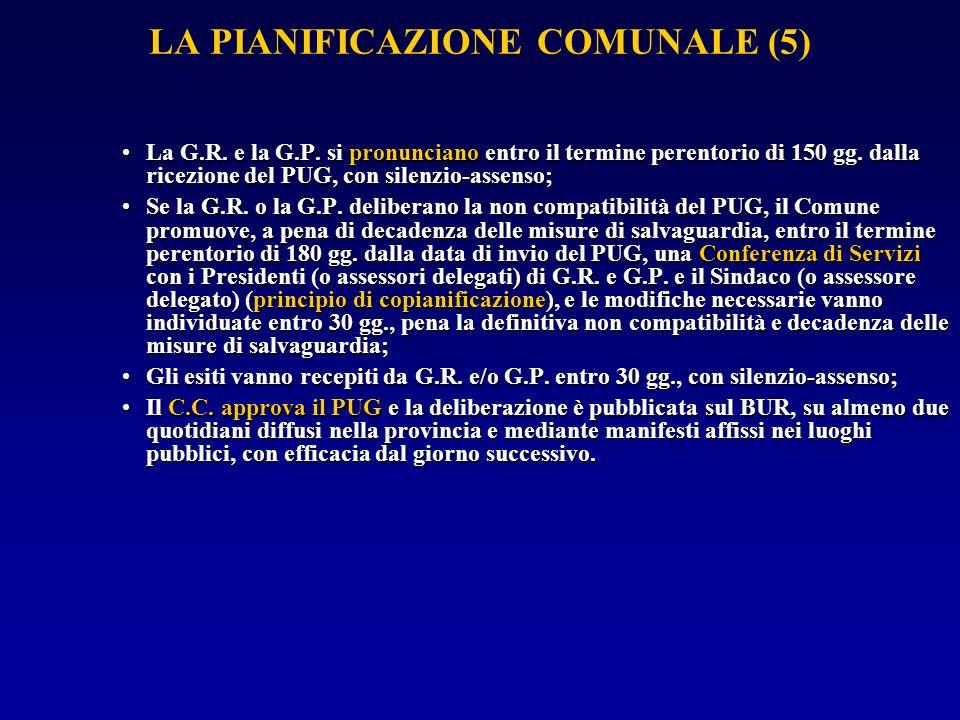 LA PIANIFICAZIONE COMUNALE (5) La G.R. e la G.P.