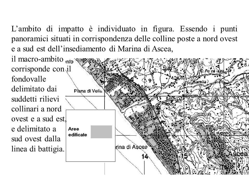 Lambito di impatto è individuato in figura. Essendo i punti panoramici situati in corrispondenza delle colline poste a nord ovest e a sud est dellinse