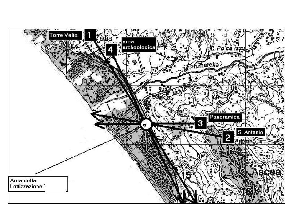 In ogni area visuale si indiduano la superficie marina e la superficie terrestre, nellambito della quale si localizza la superficie urbanizzata, corrispondente allarea edificata servita da urbanizzazioni primarie, presente in ogni area visuale.