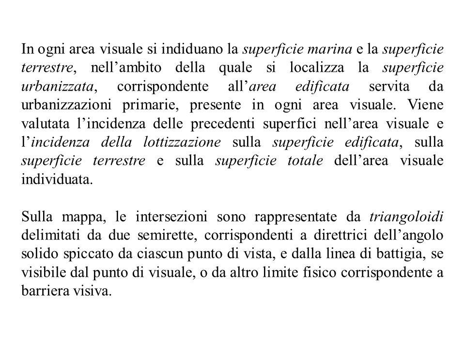 In ogni area visuale si indiduano la superficie marina e la superficie terrestre, nellambito della quale si localizza la superficie urbanizzata, corri
