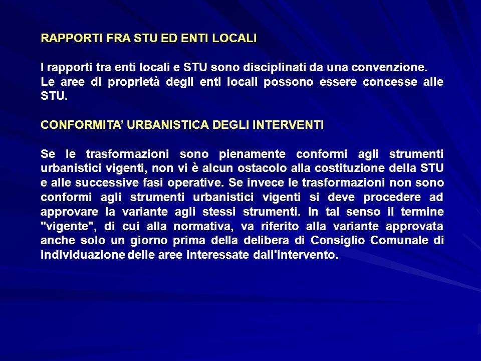 RAPPORTI FRA STU ED ENTI LOCALI I rapporti tra enti locali e STU sono disciplinati da una convenzione. Le aree di proprietà degli enti locali possono