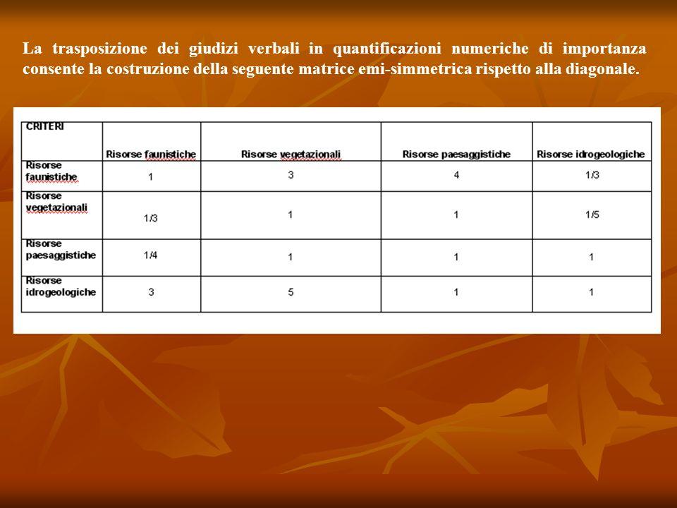 La trasposizione dei giudizi verbali in quantificazioni numeriche di importanza consente la costruzione della seguente matrice emi-simmetrica rispetto