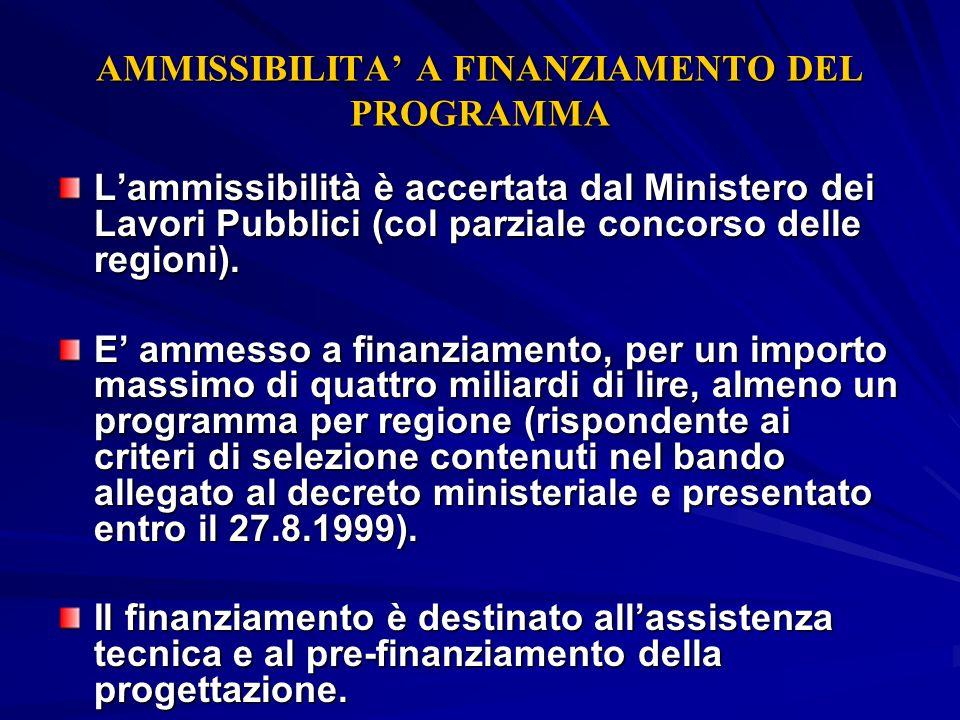 AMMISSIBILITA A FINANZIAMENTO DEL PROGRAMMA Lammissibilità è accertata dal Ministero dei Lavori Pubblici (col parziale concorso delle regioni). E amme