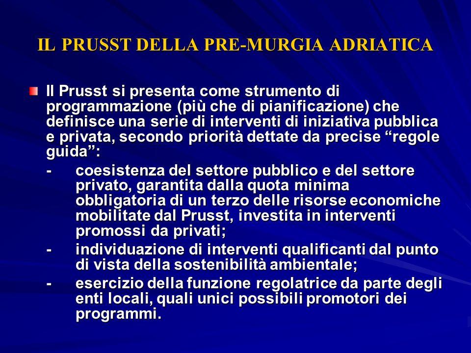 IL PRUSST DELLA PRE-MURGIA ADRIATICA Il Prusst si presenta come strumento di programmazione (più che di pianificazione) che definisce una serie di int