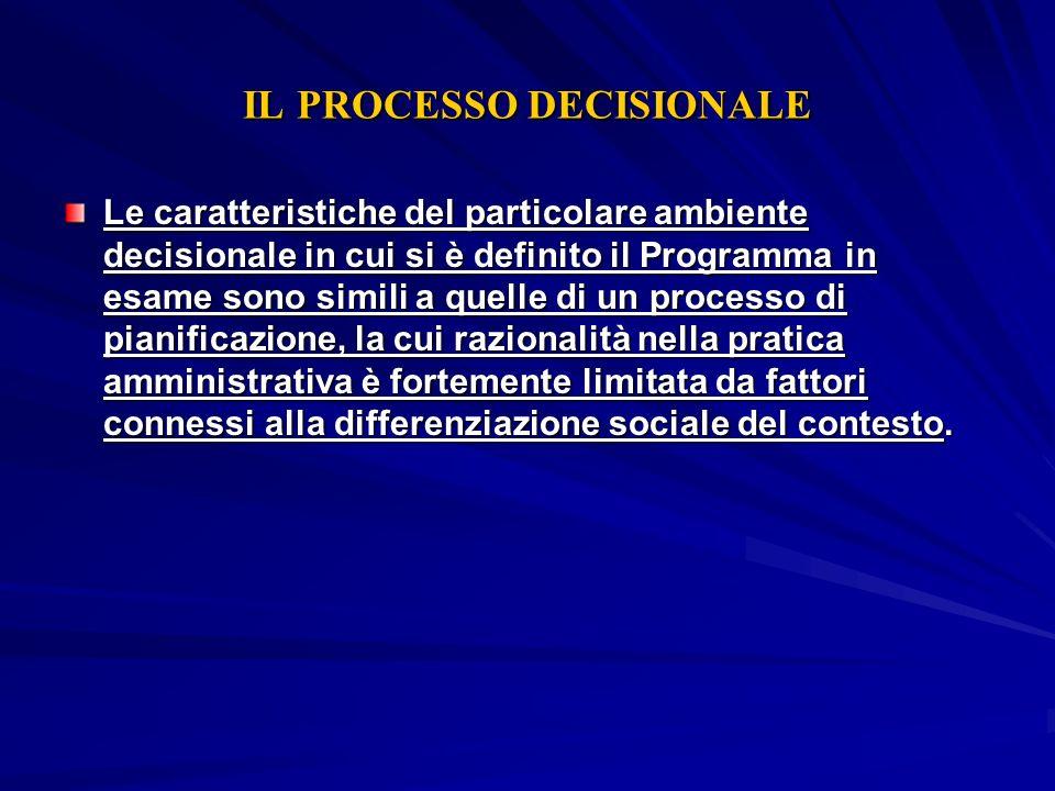 IL PROCESSO DECISIONALE Le caratteristiche del particolare ambiente decisionale in cui si è definito il Programma in esame sono simili a quelle di un