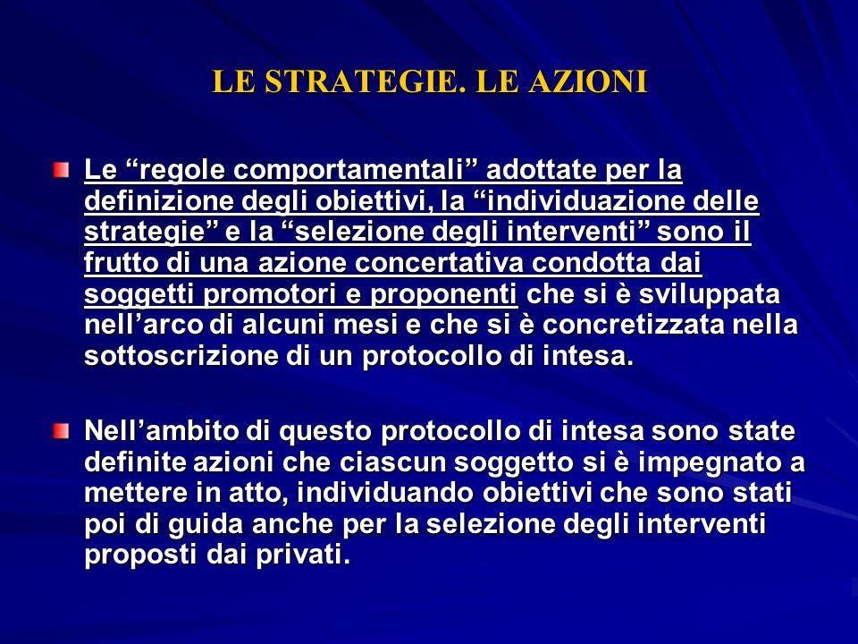 LE STRATEGIE. LE AZIONI Le regole comportamentali adottate per la definizione degli obiettivi, la individuazione delle strategie e la selezione degli