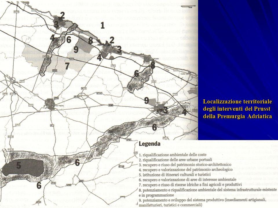 Localizzazione territoriale degli interventi del Prusst della Premurgia Adriatica