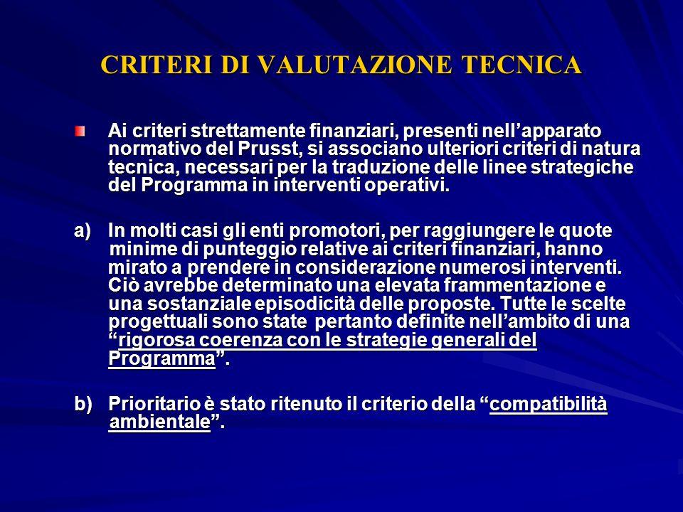 CRITERI DI VALUTAZIONE TECNICA Ai criteri strettamente finanziari, presenti nellapparato normativo del Prusst, si associano ulteriori criteri di natur