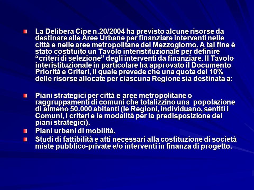 La Delibera Cipe n.20/2004 ha previsto alcune risorse da destinare alle Aree Urbane per finanziare interventi nelle città e nelle aree metropolitane d