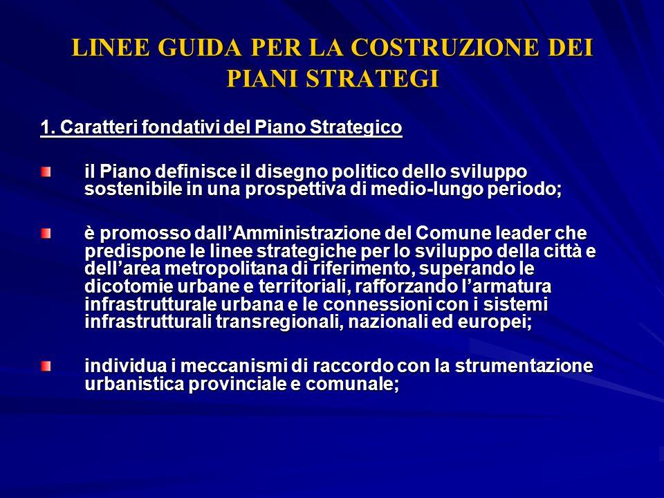 LINEE GUIDA PER LA COSTRUZIONE DEI PIANI STRATEGI 1. Caratteri fondativi del Piano Strategico il Piano definisce il disegno politico dello sviluppo so