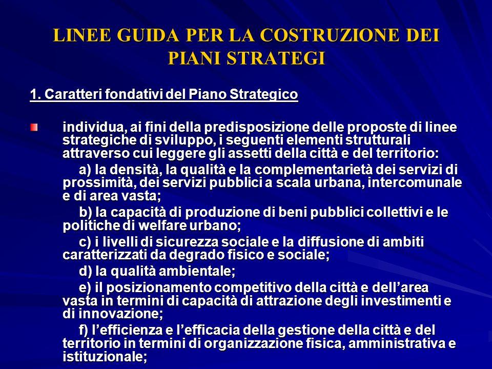 LINEE GUIDA PER LA COSTRUZIONE DEI PIANI STRATEGI 1. Caratteri fondativi del Piano Strategico individua, ai fini della predisposizione delle proposte