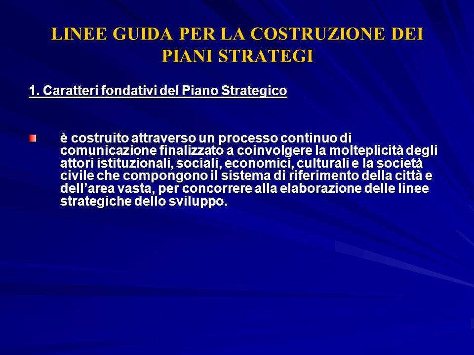 LINEE GUIDA PER LA COSTRUZIONE DEI PIANI STRATEGI 1. Caratteri fondativi del Piano Strategico è costruito attraverso un processo continuo di comunicaz