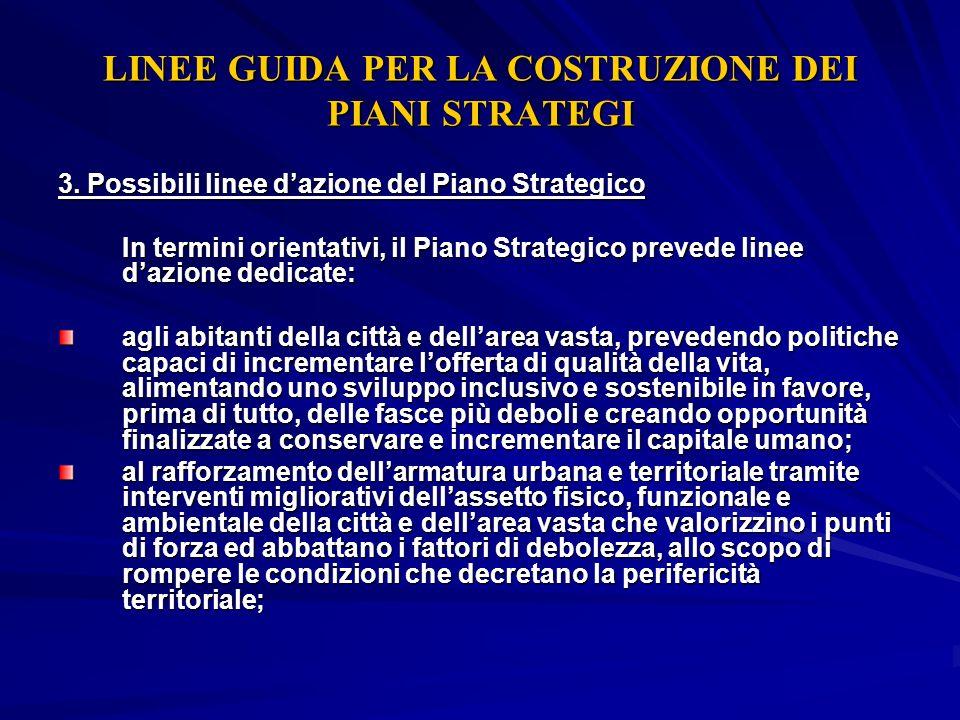 LINEE GUIDA PER LA COSTRUZIONE DEI PIANI STRATEGI 3. Possibili linee dazione del Piano Strategico In termini orientativi, il Piano Strategico prevede