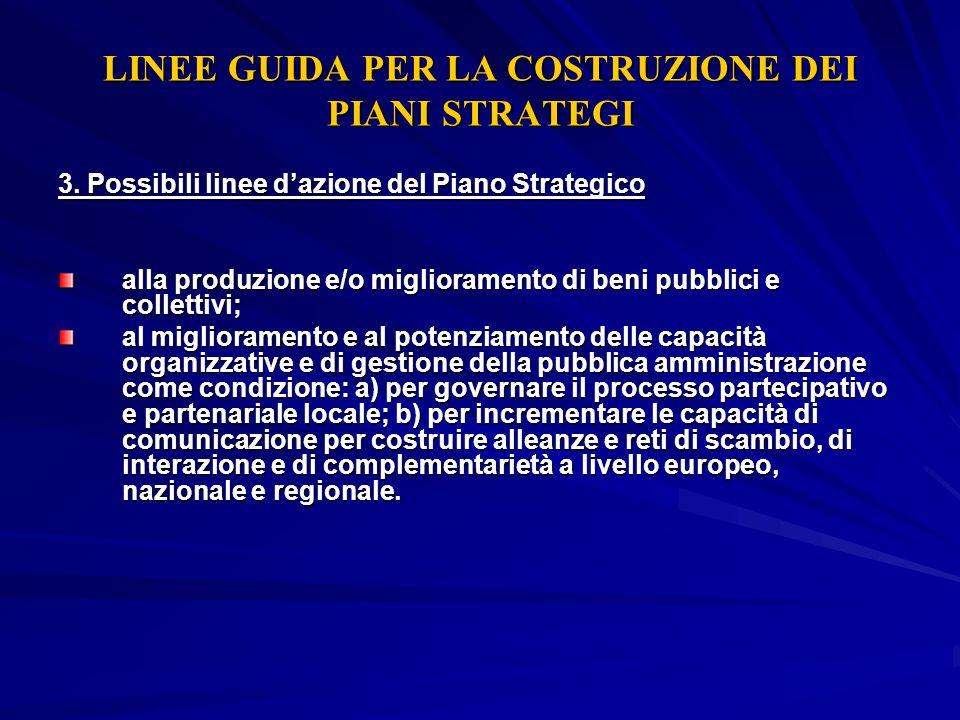LINEE GUIDA PER LA COSTRUZIONE DEI PIANI STRATEGI 3. Possibili linee dazione del Piano Strategico alla produzione e/o miglioramento di beni pubblici e