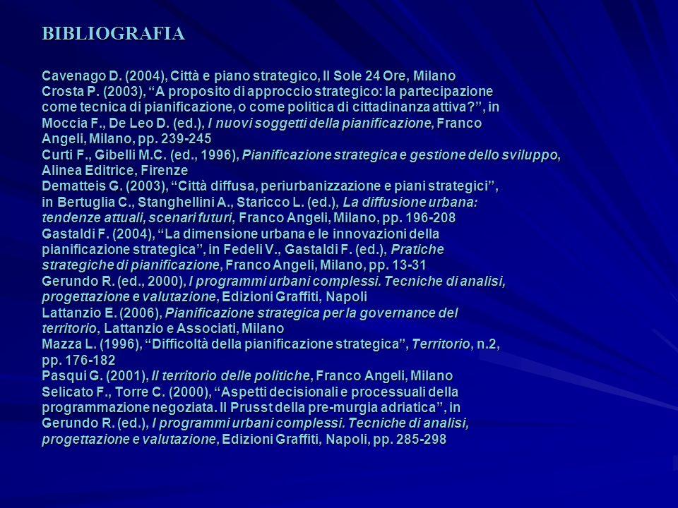 Cavenago D. (2004), Città e piano strategico, Il Sole 24 Ore, Milano Crosta P. (2003), A proposito di approccio strategico: la partecipazione come tec