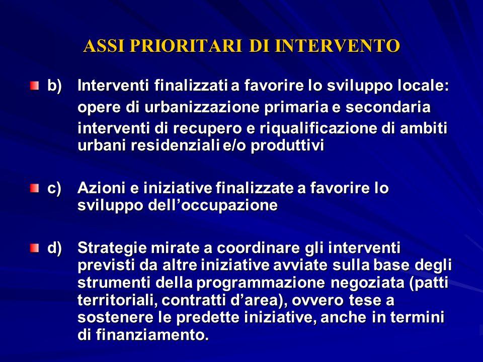 ASSI PRIORITARI DI INTERVENTO b) Interventi finalizzati a favorire lo sviluppo locale: opere di urbanizzazione primaria e secondaria interventi di rec