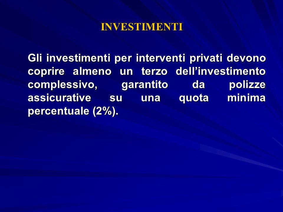 INVESTIMENTI Gli investimenti per interventi privati devono coprire almeno un terzo dellinvestimento complessivo, garantito da polizze assicurative su