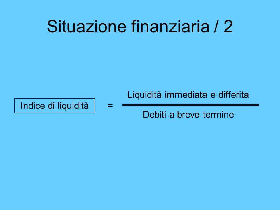 Situazione finanziaria / 2 Liquidità immediata e differita Debiti a breve termine Indice di liquidità =