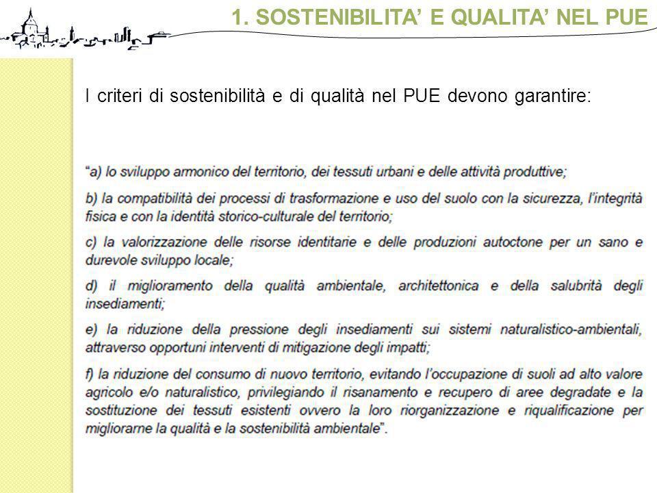 1.SOSTENIBILITA E QUALITA NEL PUE I criteri di sostenibilità e di qualità nel PUE devono garantire: