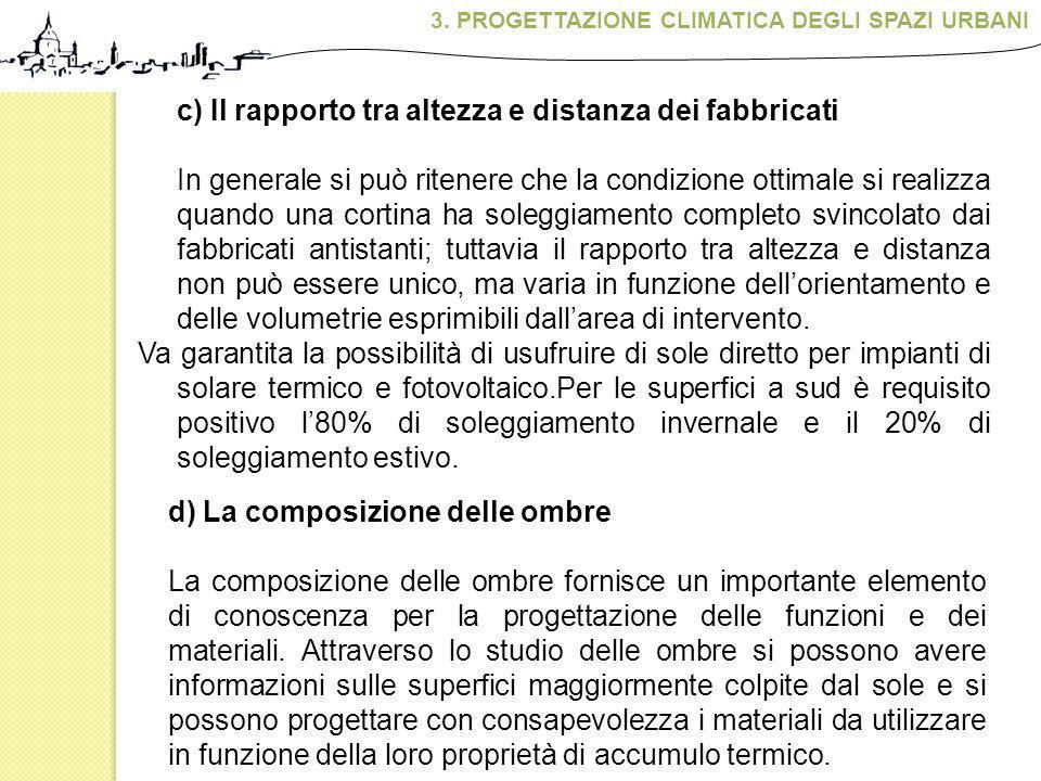 c) Il rapporto tra altezza e distanza dei fabbricati In generale si può ritenere che la condizione ottimale si realizza quando una cortina ha soleggia