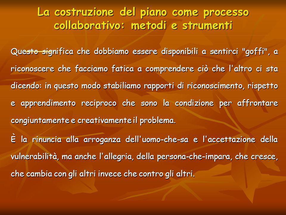 La costruzione del piano come processo collaborativo: metodi e strumenti Questo significa che dobbiamo essere disponibili a sentirci