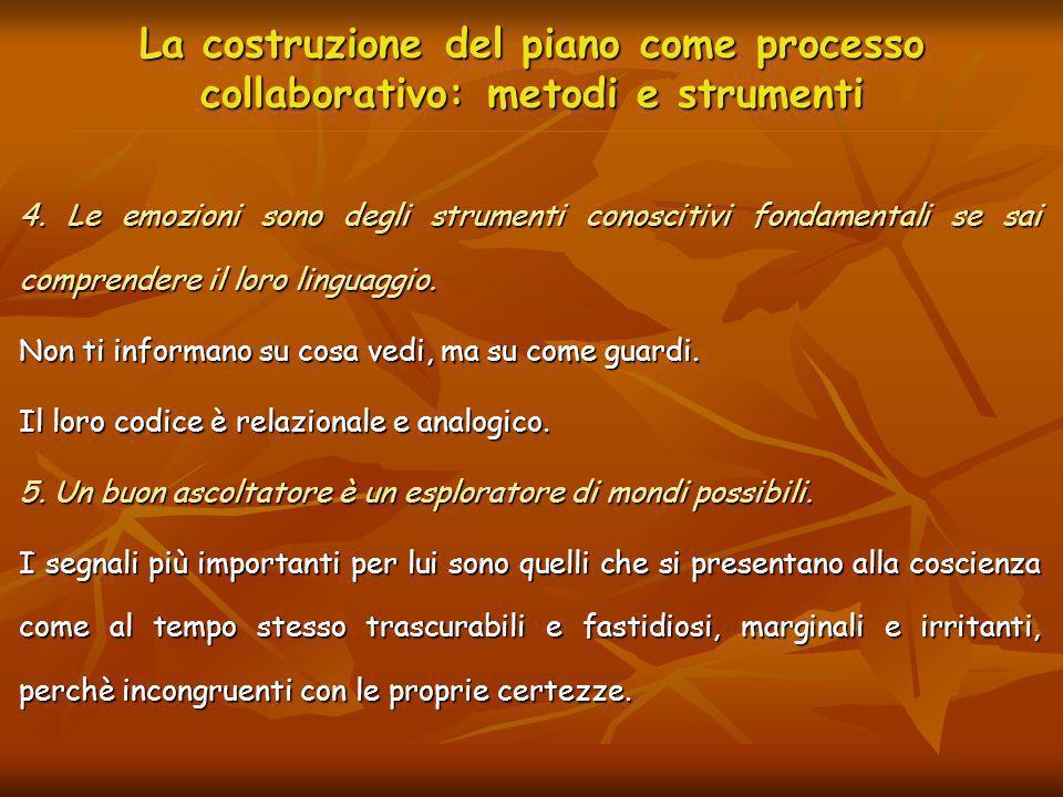La costruzione del piano come processo collaborativo: metodi e strumenti 4. Le emozioni sono degli strumenti conoscitivi fondamentali se sai comprende