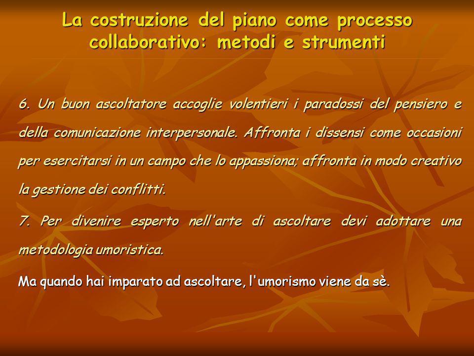La costruzione del piano come processo collaborativo: metodi e strumenti 6. Un buon ascoltatore accoglie volentieri i paradossi del pensiero e della c