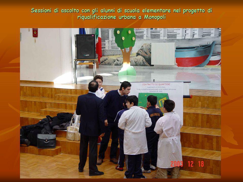 Sessioni di ascolto con gli alunni di scuola elementare nel progetto di riqualificazione urbana a Monopoli