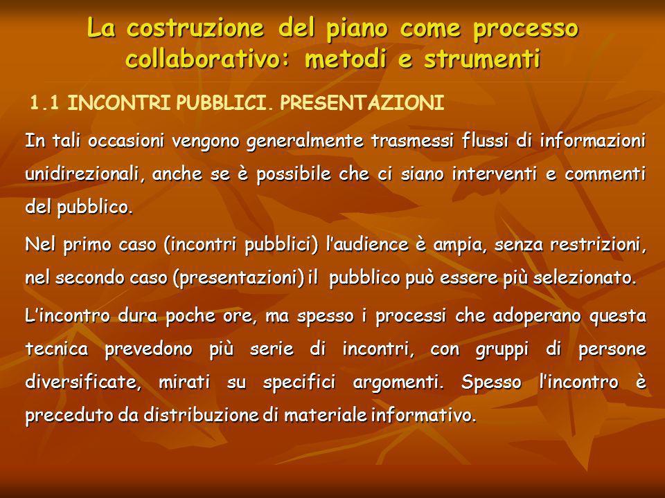La costruzione del piano come processo collaborativo: metodi e strumenti In tali occasioni vengono generalmente trasmessi flussi di informazioni unidi