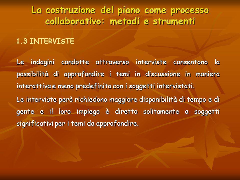 La costruzione del piano come processo collaborativo: metodi e strumenti Le indagini condotte attraverso interviste consentono la possibilità di appro