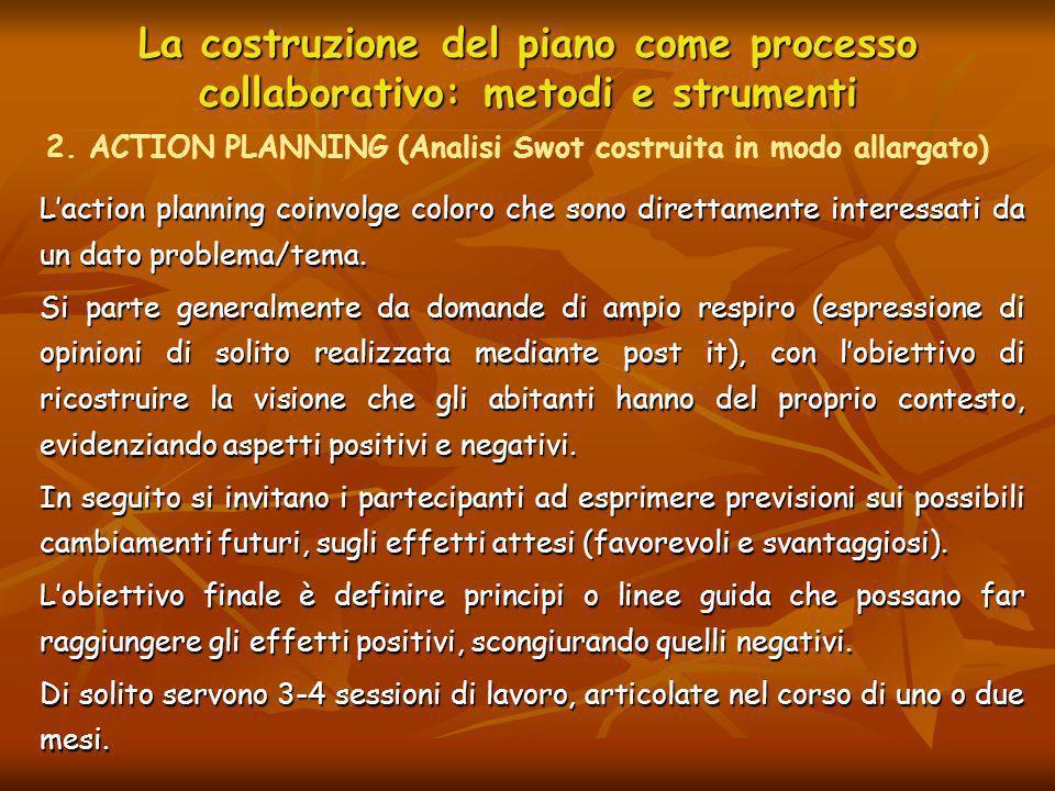 La costruzione del piano come processo collaborativo: metodi e strumenti Laction planning coinvolge coloro che sono direttamente interessati da un dat